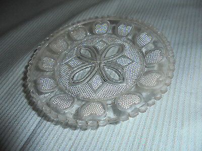 Cup Plate Pattern Or Pressed Glass Hearts 3-5 Across Vintage