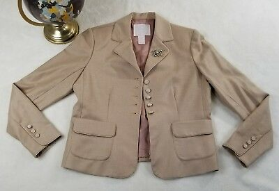 Rebecca Taylor Womens Beige Stripe Wool Jacket Royal Kate Middleton 450 Sz 10