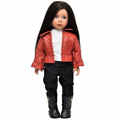 Doll Clothing Fits 18 American Girl Leather Jacket Pants Shirt Clothes RSO