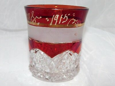 Ruby Flash Flashed Cup Frances 1915  Antique Glass Cup Crystal 1915