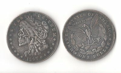 1897 Morgan Dollar Hobo Skull Head Skeleton Eagle Zombie Novelty Fantasy Coin