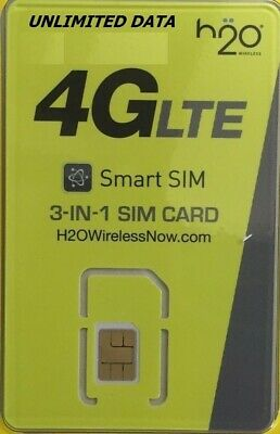 H2O Wireless SIM CARD-30 1st MONTH INCLUDED PREPAID PRELOADED