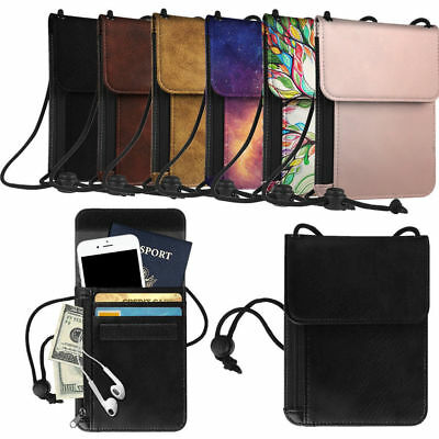 Premium PU Leather Passport Holder Neck Pouch RFID Blocking Travel Wallet