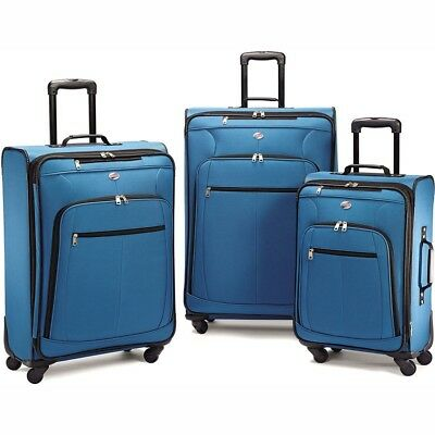 American Tourister Moroccan Blue Pop Plus 3 Piece Nested Spinner Luggage Set