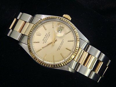 Rolex Datejust Mens Two-Tone Stainless Steel - 18K Yellow Gold Champagne 16013