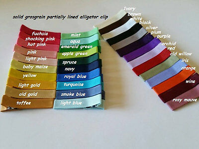 Partially Lined alligator clips solid Grosgrain Ribbon lined DOUBLE PRONG clips