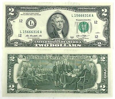 Uncirculated 2 Two Dollar bill note BEP Lucky USD Fancy With clear case Crisp