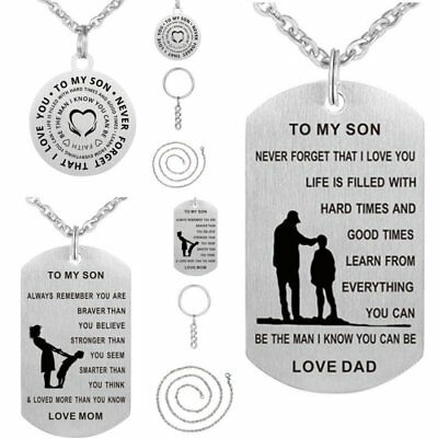 TO MY SON Letter Mothers Day Stainless Steel Pendant Necklace Keychain Ring