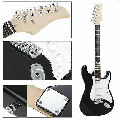 Full Size Black Electric Guitar with Amp Case and Accessories Pack Beginner