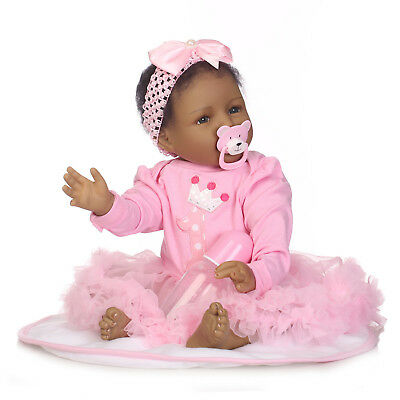 Real LifeLike bebe 2255cm Black Reborn Baby Doll Silicone Dolls Toddler gifts