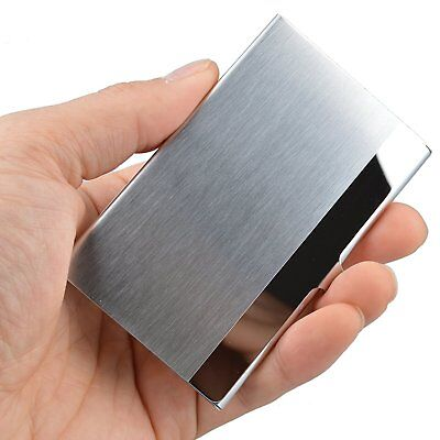 Pocket Stainless Steel - Metal Business Card Holder Case ID Credit Wallet Silver