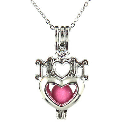 K562 Silver 35mm I LOVE MOM Heart Pearl Beads Cage Necklace 18 - Mothers Day