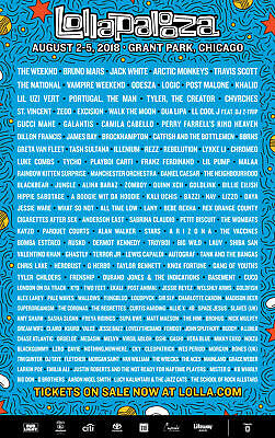 Lollapalooza 2018 4 day pass ticket Aug 2-5 Bruno Mars Jack White The Weeknd