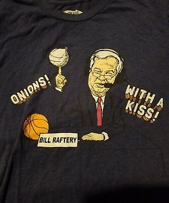 BILL RAFTERY March Madness Onions with a Kiss Basketball t shirt BLUE Large