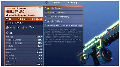 PS4PC Fortnite PVE Save the World - Power Level 82 Mercury LMG LV 3030 - Neon