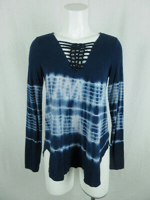 American Eagle Outfitters Women S Viscose Tie Dye V-Neck Shoelace Blue Knit Top