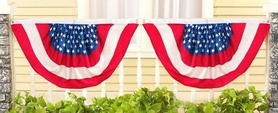 2 Pack of American USA Flag Bunting 22 x 36 Fourth 4th of July Decoration