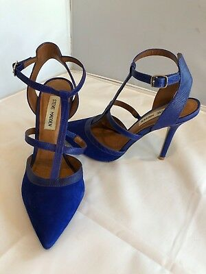 STEVE MADDEN BLUE HEELS SIZE 8-5 GREAT CONDITION