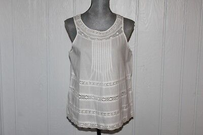 NWT American Eagle Outfitters Womens White Sleeveless Blouse wLace Rows Sz L