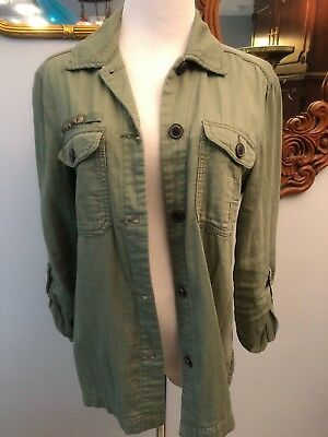 AMERICAN EAGLE OUTFITTERS GREEN SHIRT BUTTON DOWN WITH STUDS SIZE M