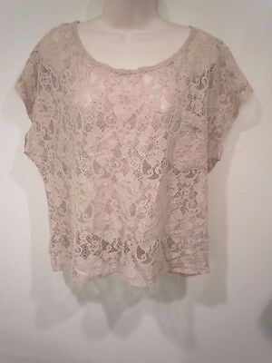 FOREVER 21 Oversized Sheer Beige Lace Top Large