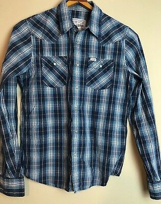 Mens HOLLISTER Co- Western Pearl Snap Plaid Long Shirt Size Medium