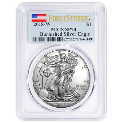 2018-W Burnished 1 American Silver Eagle PCGS SP70 First Strike Label