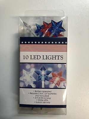 Patriotic Star-Shaped LED String Lights 3ft Battery Powered 4th Of July USA