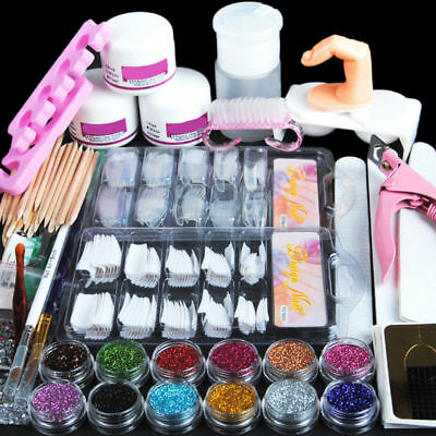 Acrylic Nail Kit Acrylic Powder Glitter Nail Art Manicure Tool Tips Brush Set US