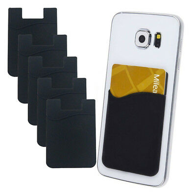 5x Silicone Credit Card Holder Cell Phone Wallet Pocket Sticker Adhesive Black