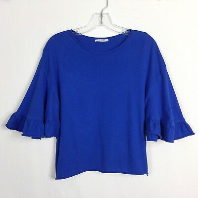 Zara Trafaluc Womens Top Size S Small Bell Sleeve T Shirt Blue Blouse