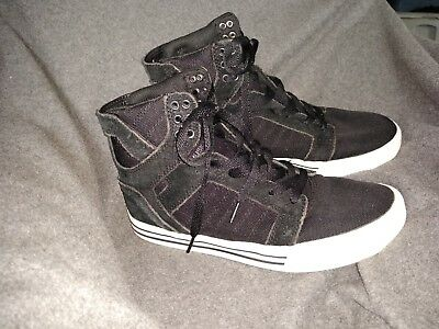 MENS SIZE 7 SUPRA SKYTOP BLACK WHITE SKATE SHOES HIGH TOP S18250 USED