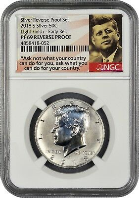 2018 S Silver Kennedy 50C REVERSE PROOF LIGHT FINISH NGC PF69 ER Portrait
