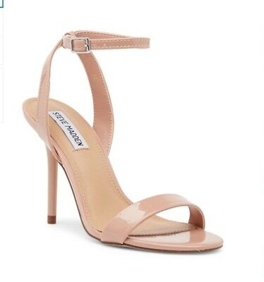 Steve Madden Womens Reno Open Toe Ankle Strap Sandals Nude Blush Patent 8