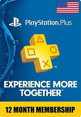 Sony PlayStation PS Plus 1 Year  12 Month Membership Subscription Fast Delivery