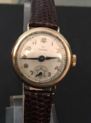 9ct Rolex Tudor Ladies  1951small Rose  Working
