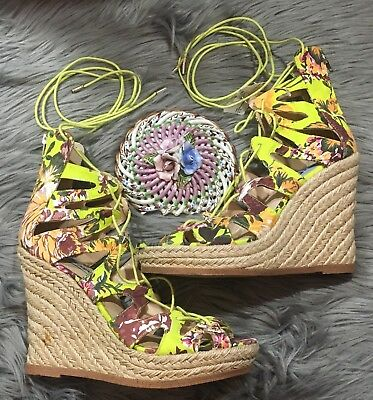 Steve Madden Theea Neon Green Floral Espadrille Suede Sz 9 Wedge Lace Up Ankle
