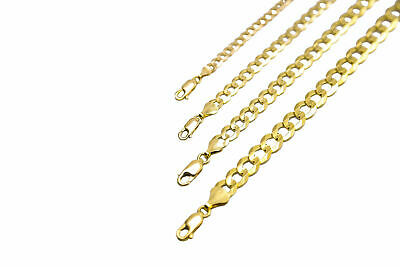 14k Solid Yellow Gold Cuban Link Chain Necklace 1-5-12mm Mens Women Sz 16-36