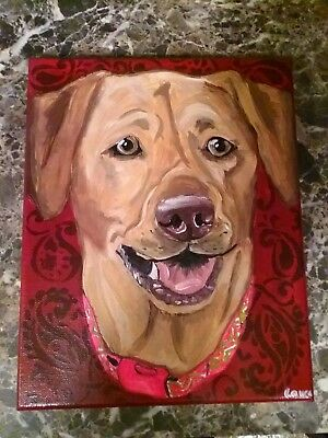 Personalized Custom Handpainted Pet Portrait For Your Dog or Cat Canvas Format