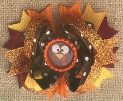 Thanksgiving Turkey Brown Orange Bottle Cap Hair Bow 4 12