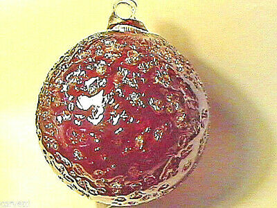 Hanging Glass Ball 4 Diameter Ruby Red Crackle 1 HB6-1