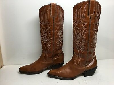 WOMENS STEVE MADDEN SNIP TOE COWBOY LEATHER BROWN BOOTS SIZE 7-5 B
