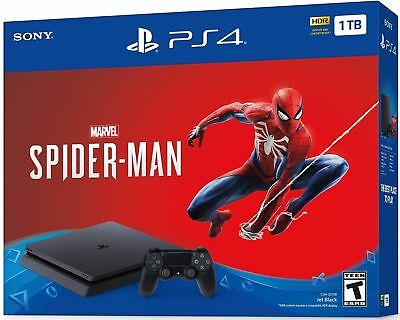NEW SONY PLAYSTATION 4 SLIM 1TB CONSOLE SPIDER-MAN BUNDLE Fast ship