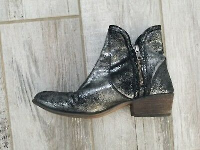 Steve Madden Zipstr Pewter Booties Ankle Boots Womens Size 9 Boho Zippers
