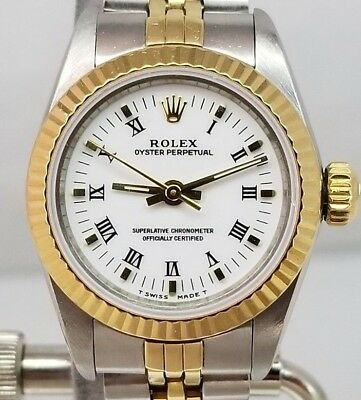 ROLEX LADIES 18KSS NODATE WHITE DIAL 2TONE PAPERS TAG