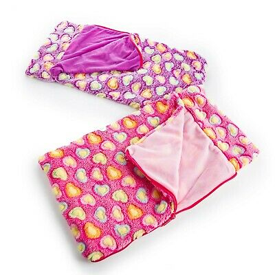 TWO 18 Inch Doll SLEEPING BAG Pink - Green  Fits American Girl Accessories