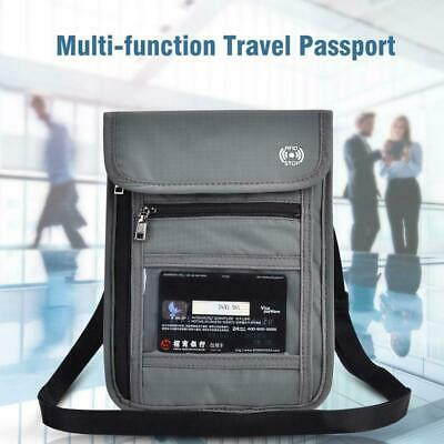 Travel Passport Neck Pouch Wallet Secure ID Card Money RFID Blocking Holder Bag