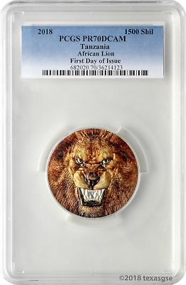2018 1500 Shilling Tanzania African Lion 2oz Silver Proof Coin PCGSPR70DCAM FD