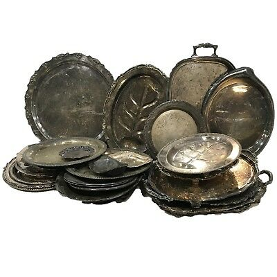 Silverplated trays dishes plates platters Medieval Prop set art deco Lot of 10
