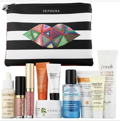 New Sephora Master Off-Duty Cosmetic Makeup Bag w 10 Samples Trial Sizes
